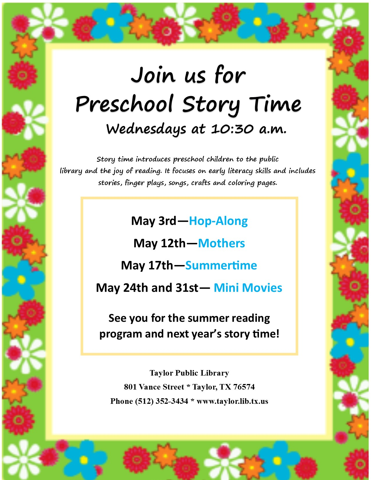 May Storytime flyer