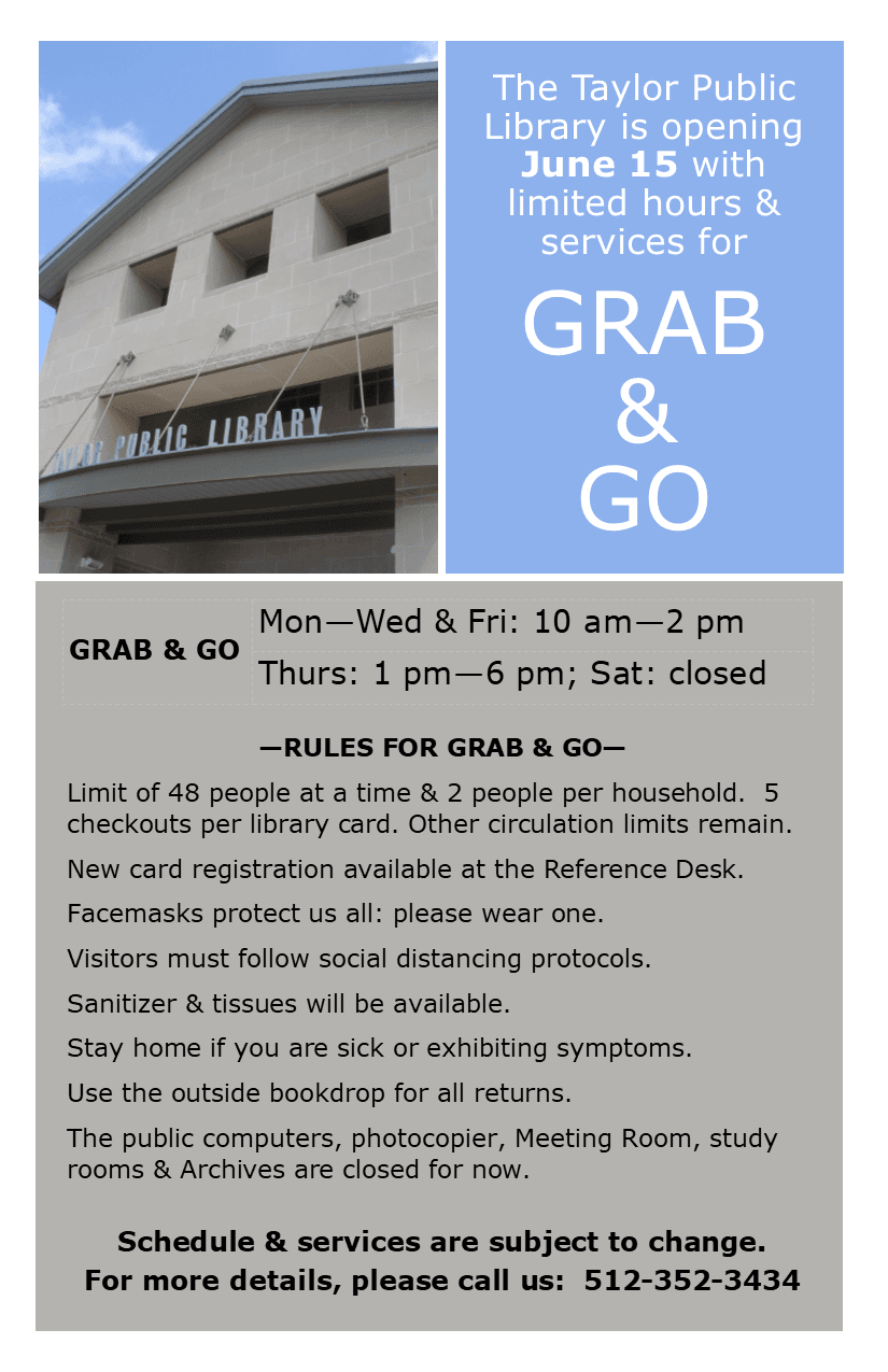 Grab and Go Announcement for Taylor Public Library