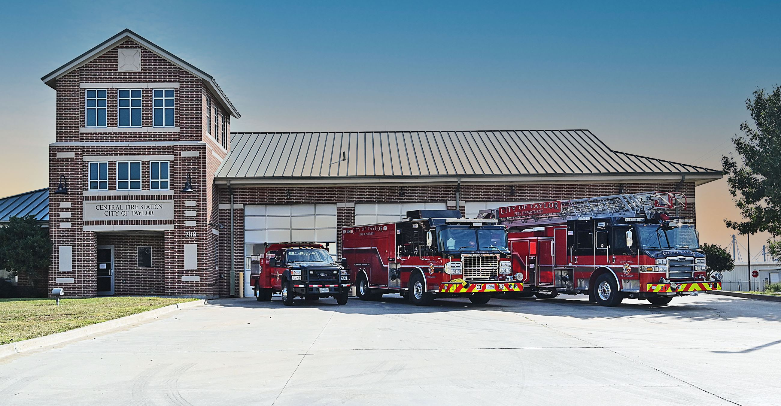 Taylor Fire Department Station 1 with fire trucks lined up