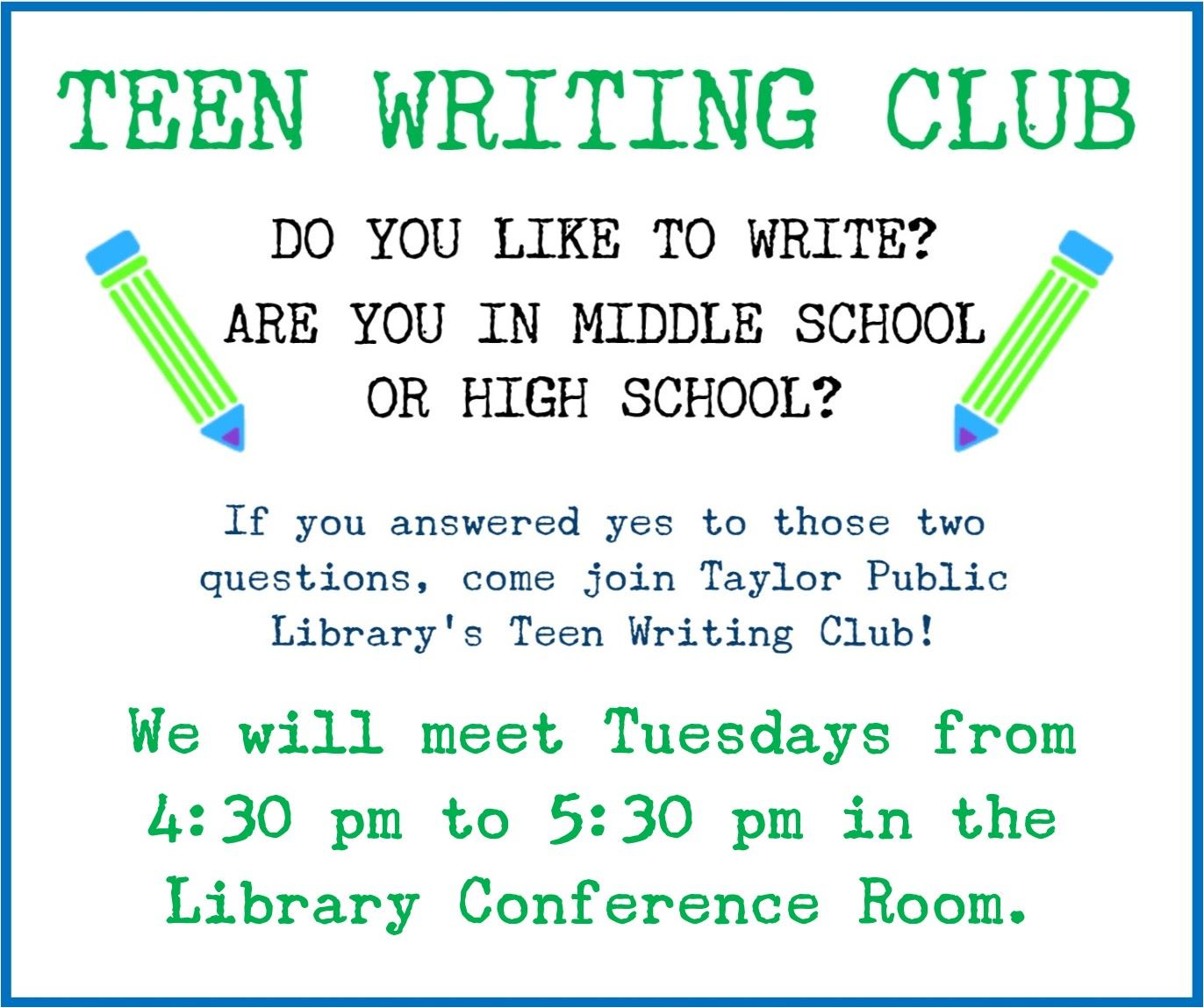 Teen Writing Club Poster General