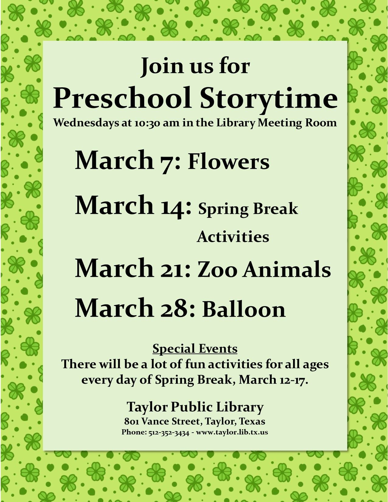 March storytime 2018