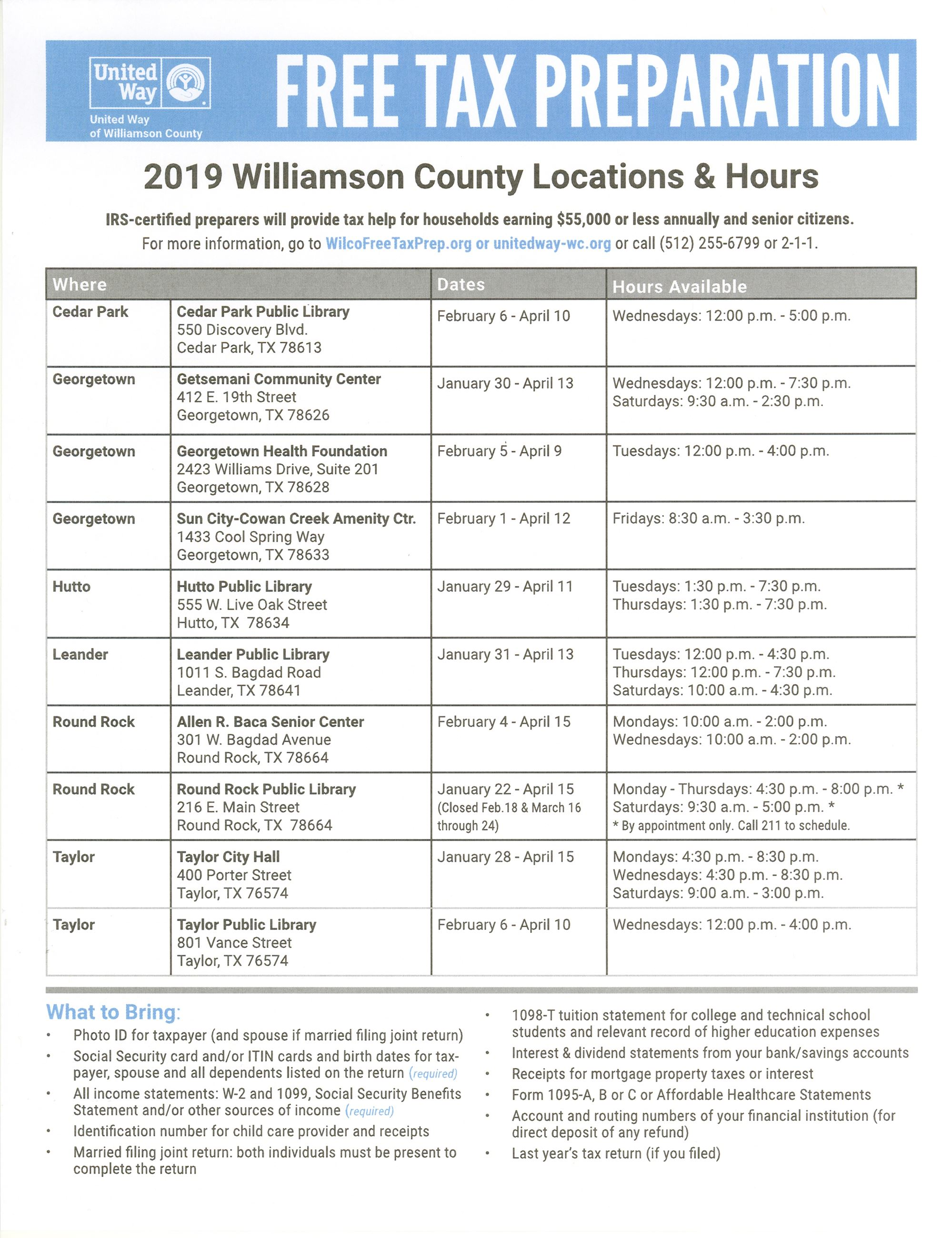 2019 Tax Assistance in Williamson County English